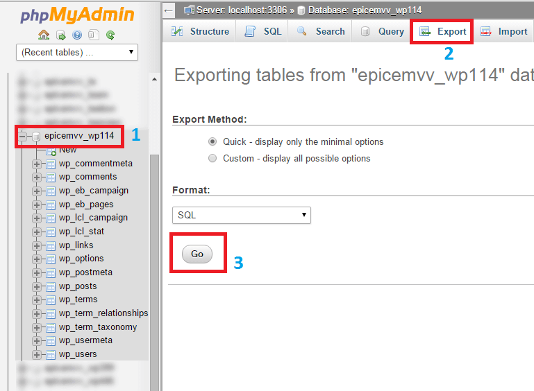 export-database-cpanel