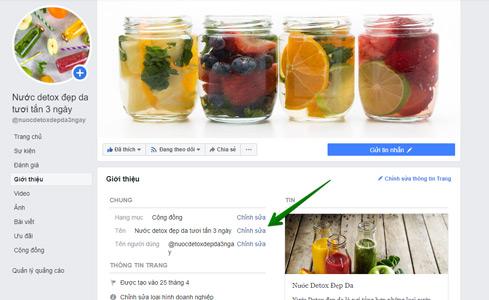 hướng dẫn đổi tên fanpage facebook bước 2