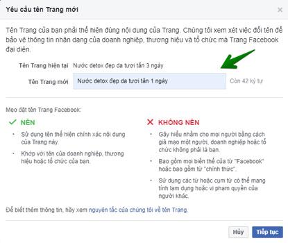 Hướng dẫn thay đổi tên fanpage facebook bước 3
