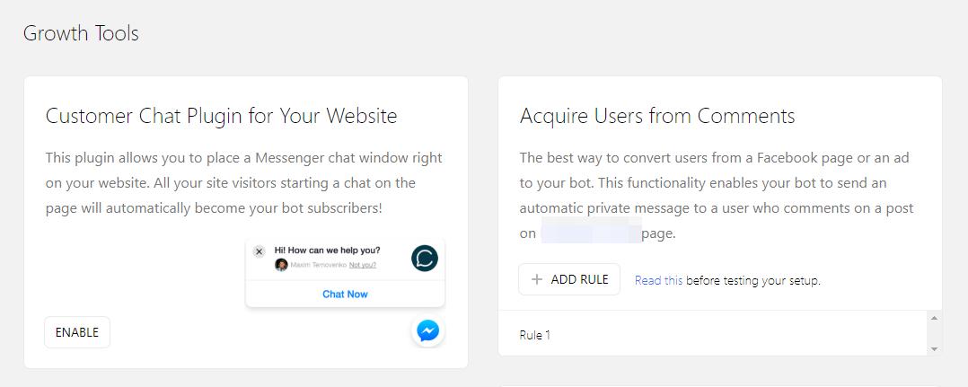 Grow - kết nối với website và tạo nút chat